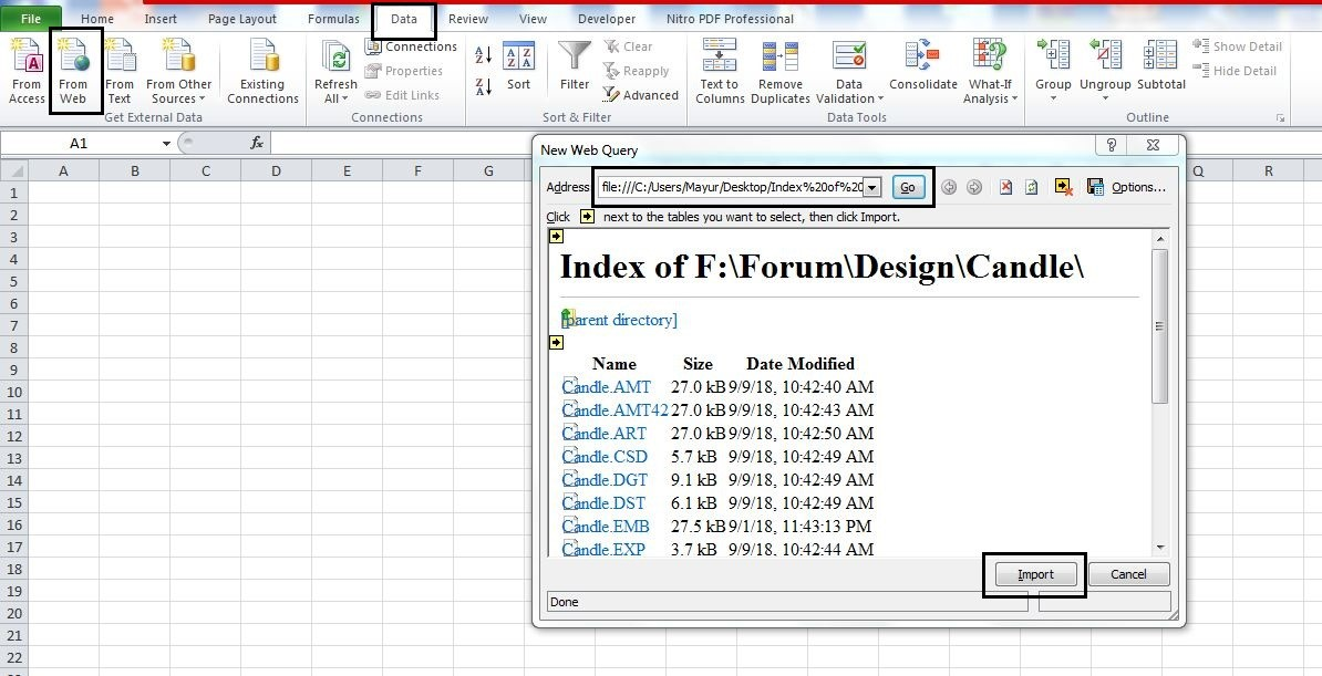 Export file names to Excel sheet (Webpage method)- step 4