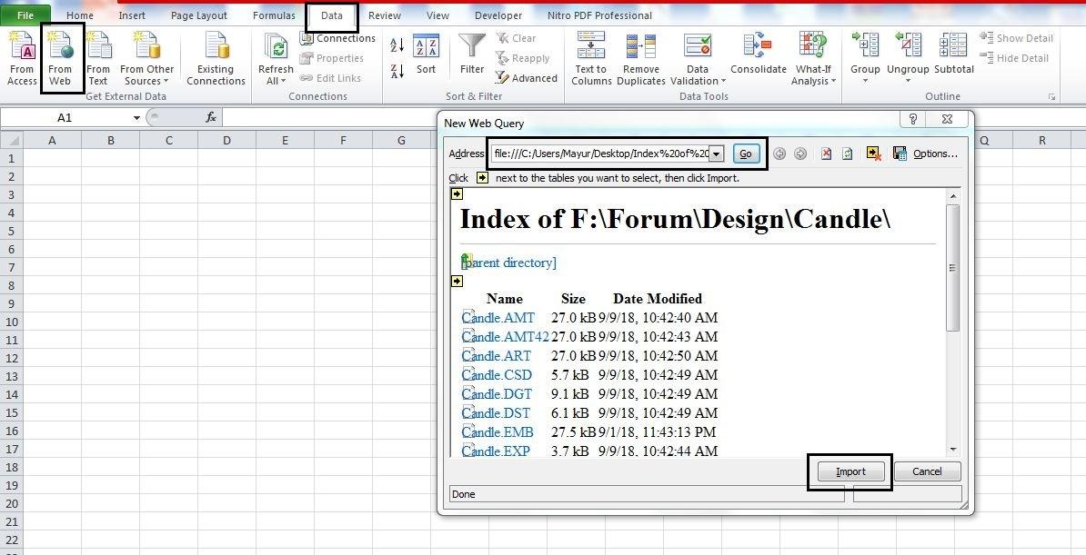 Export file names to Excel sheet (Webpage method)- step 4