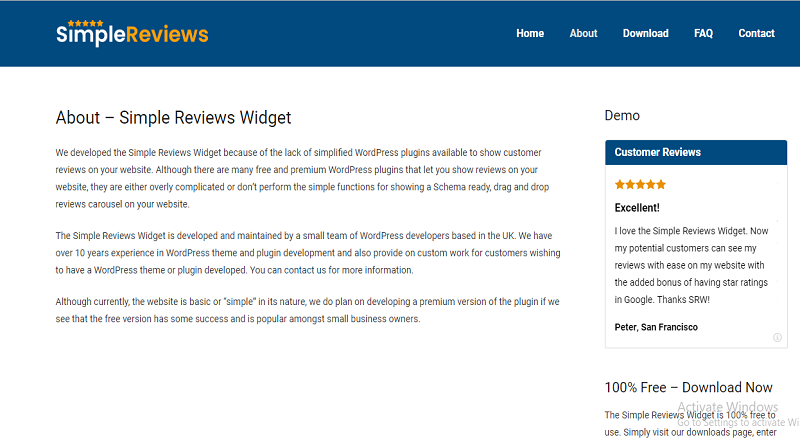 Simple Reviews Widget