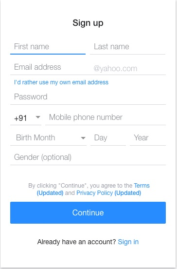 Yahoo Mail Sign Up 1