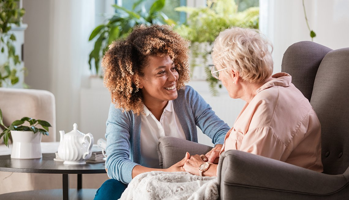 Different caregivers in a senior living facility